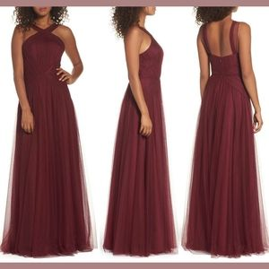 NWT Hayley Paige Occasions High Neck Gown Red 8